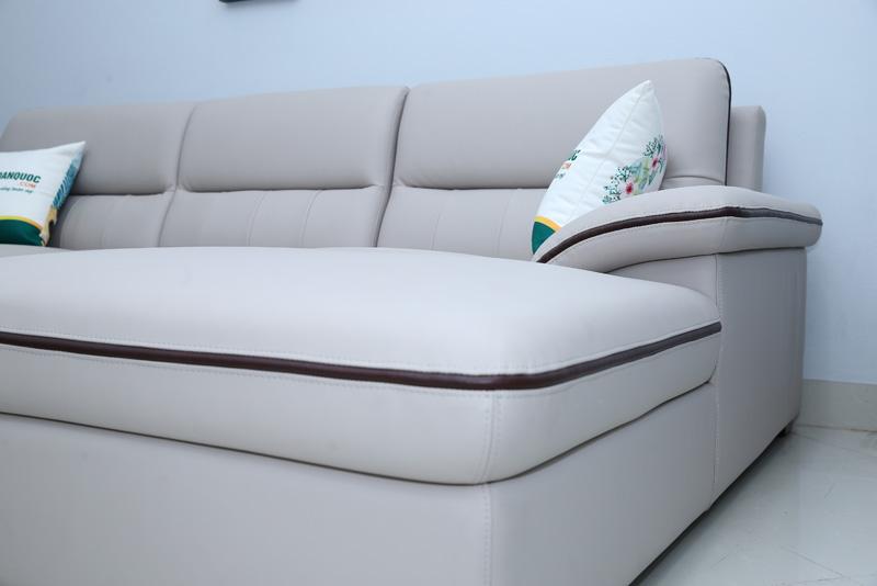 ghế sofa da màu ghi xám đẹp