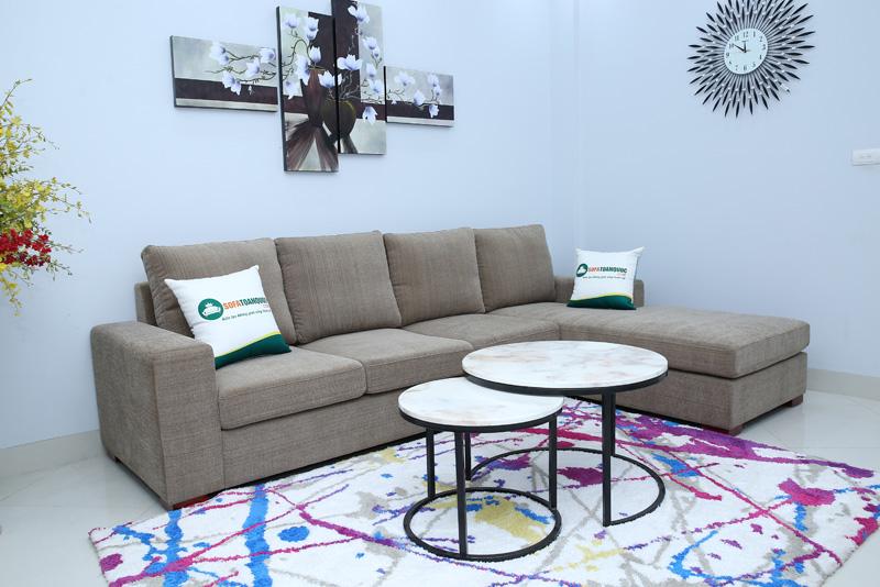 bộ ghế sofa phòng khách bọc vải kiểu sofa góc