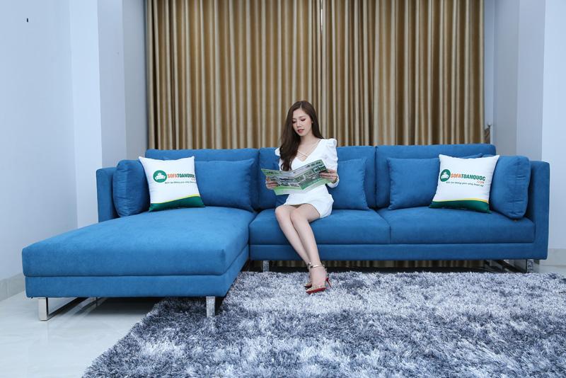 ghế sofa màu xanh đẹp cho phòng khách gia đình