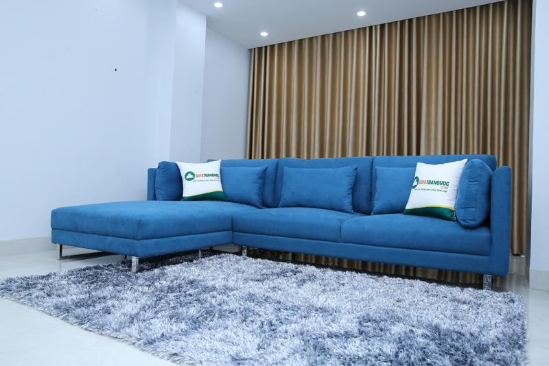 ghế sofa góc bọc vải màu xanh