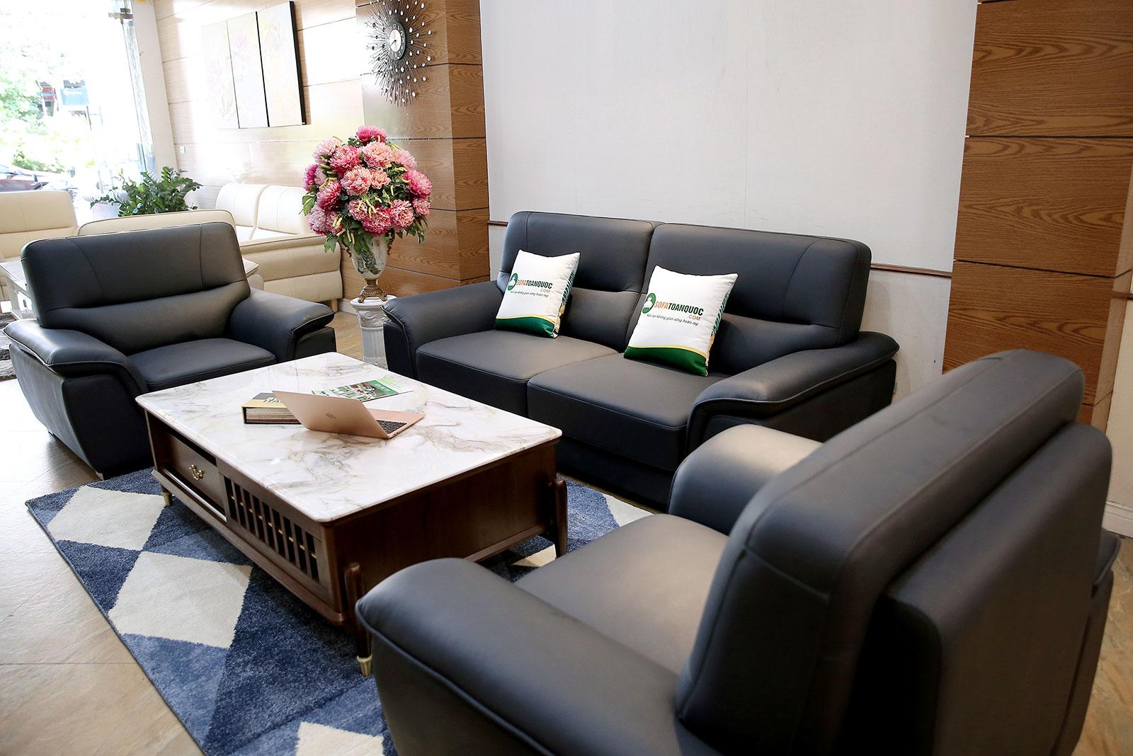 Bộ sofa bọc da boss màu xanh than 2 ghế đơn và 1 văng dài mã m08c