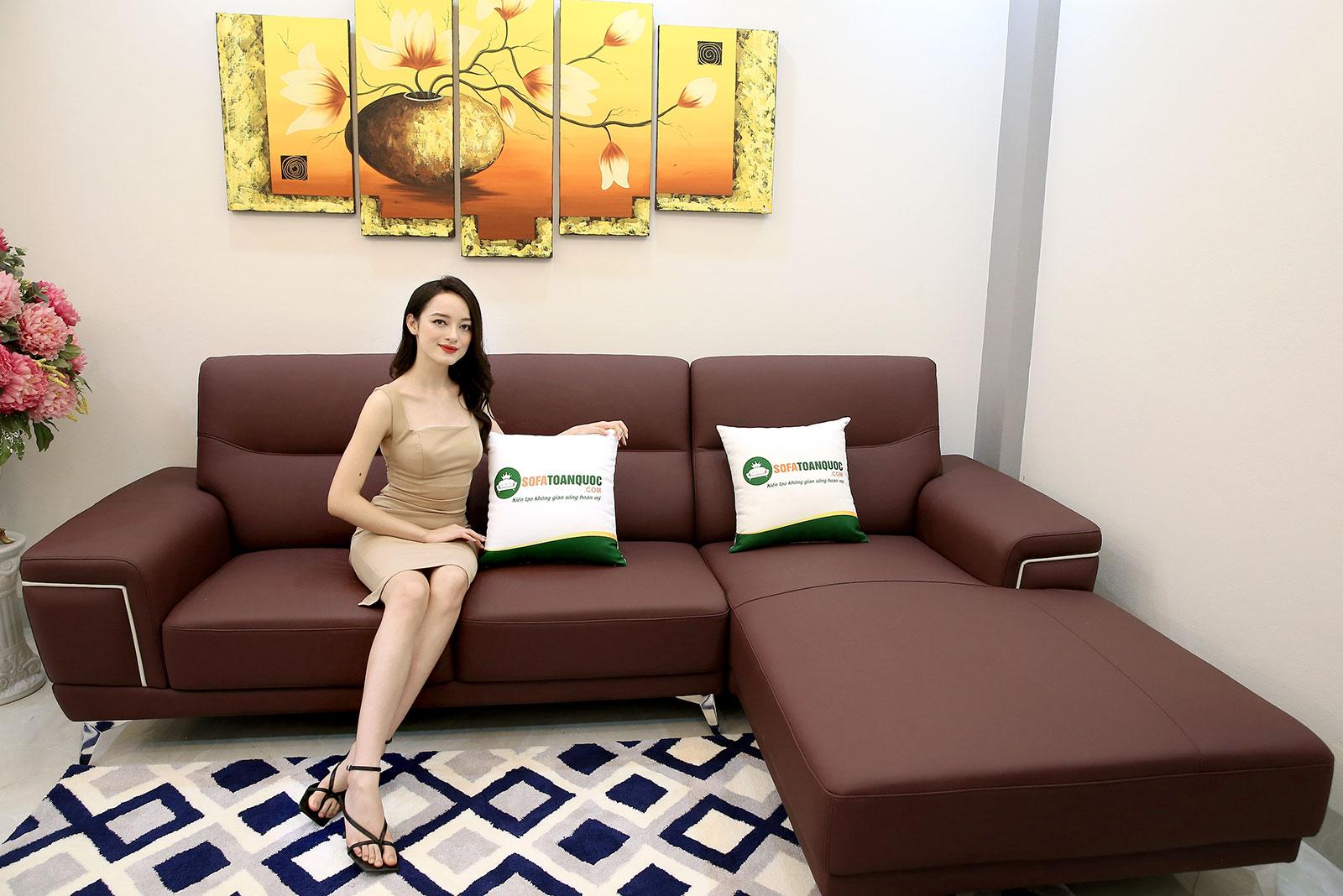 Sofa góc chữ l trài bọc da màu đỏ mận mã m19-1