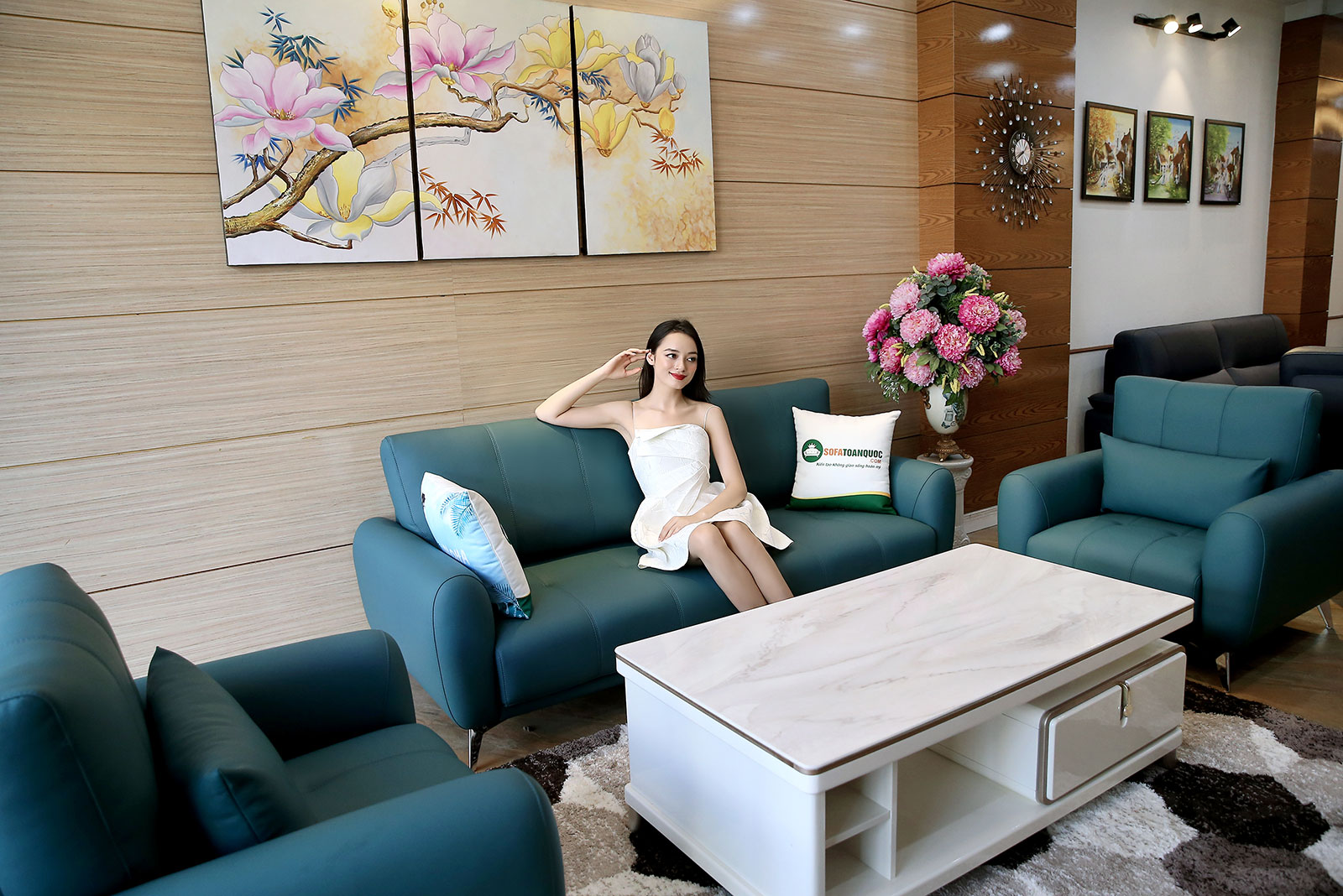 Bộ bàn ghế phòng khách gồm 2 đơn và 1 ghế văng màu xanh cổ vịt M20-2
