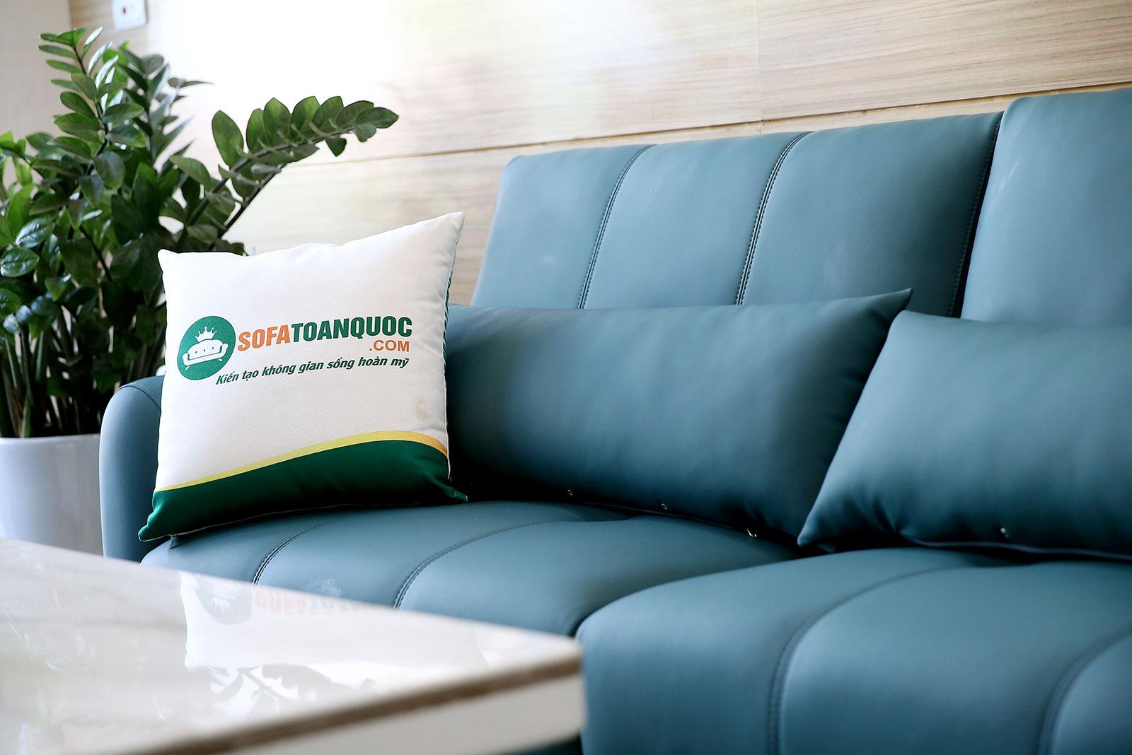 Bộ bàn ghế phòng khách gồm 2 đơn và 1 ghế văng màu xanh cổ vịt M20-5