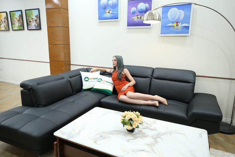 sofa góc bọc da thật malaysia màu đen