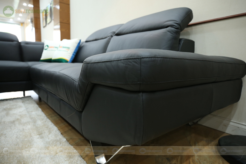 sofa chân inox kiểu sofa góc bọc da