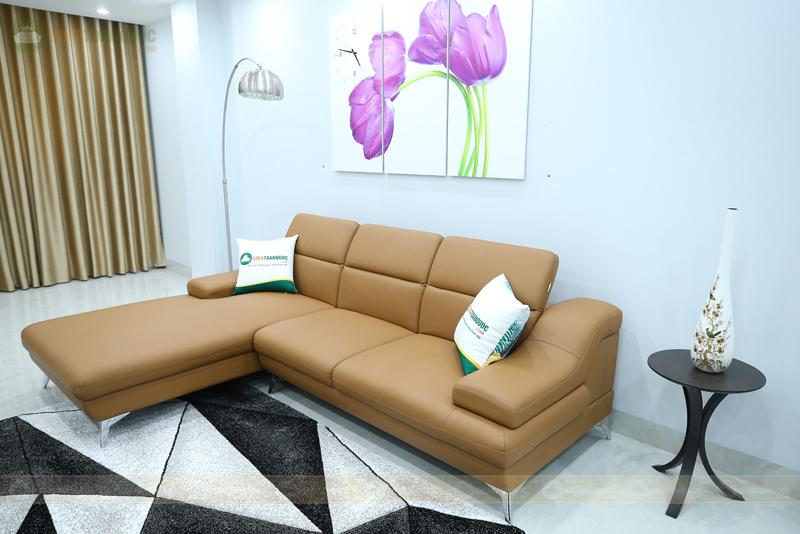 bộ ghế sofa góc màu nâu chân inox bọc da microfiber