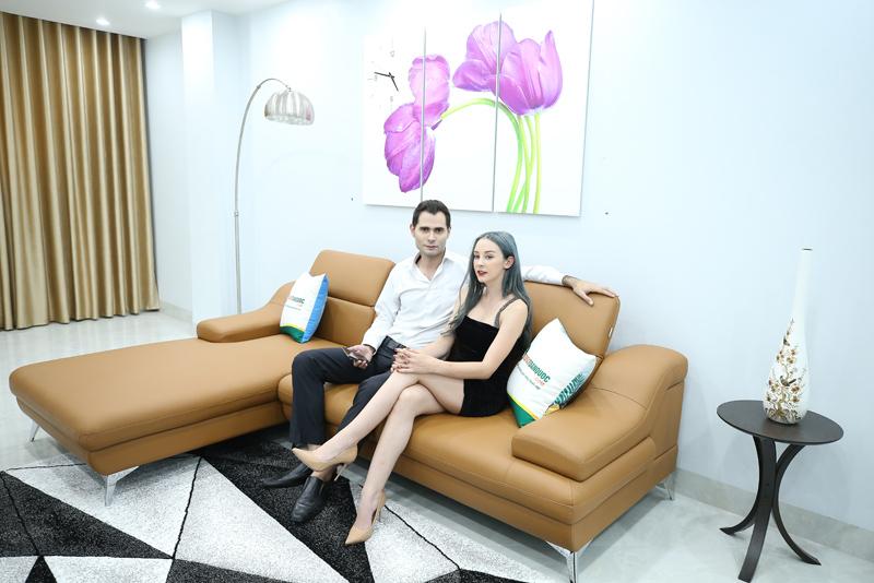ghế sofa da góc microfiber