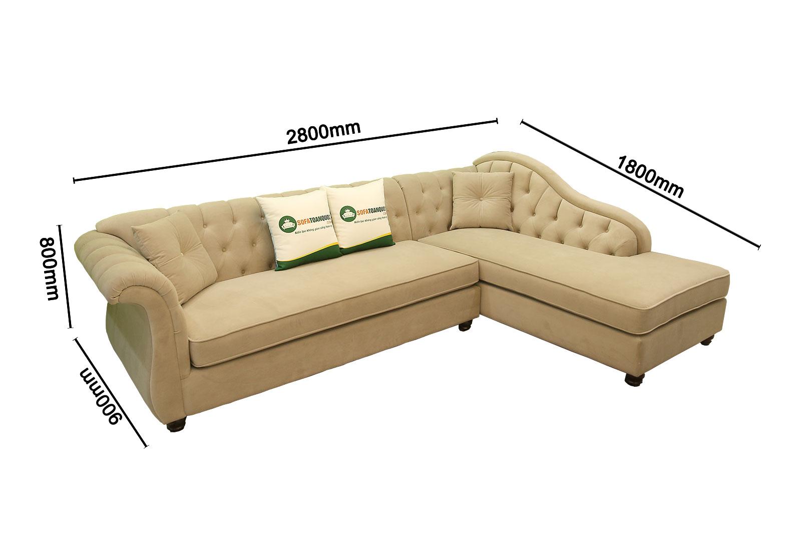 kích thước mẫu ghế sofa vải tân cổ điển mv04