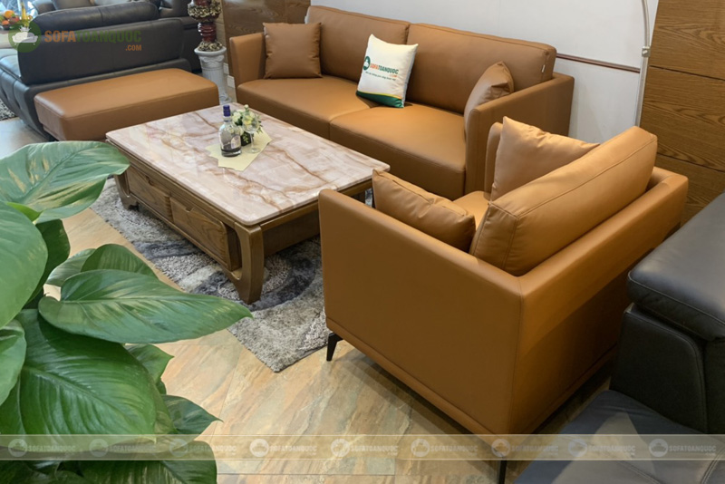 Bộ bàn ghế sofa da boss ý cao cấp màu da bò mã m06c-1