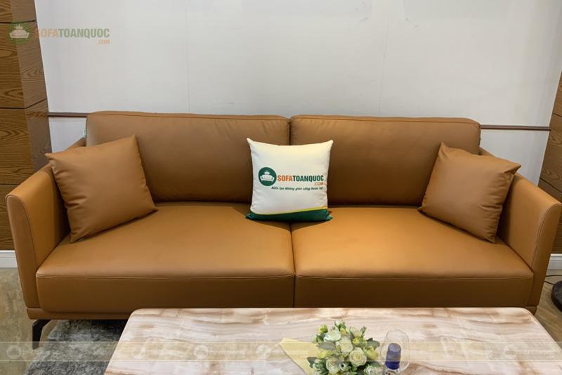 Bộ bàn ghế sofa da boss ý cao cấp màu da bò mã m06c-3