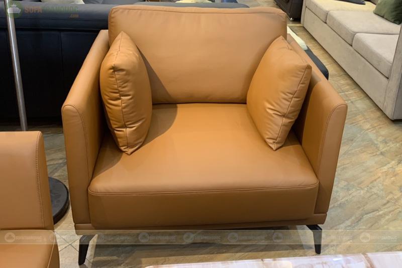 Bộ bàn ghế sofa da boss ý cao cấp màu da bò mã m06c-4