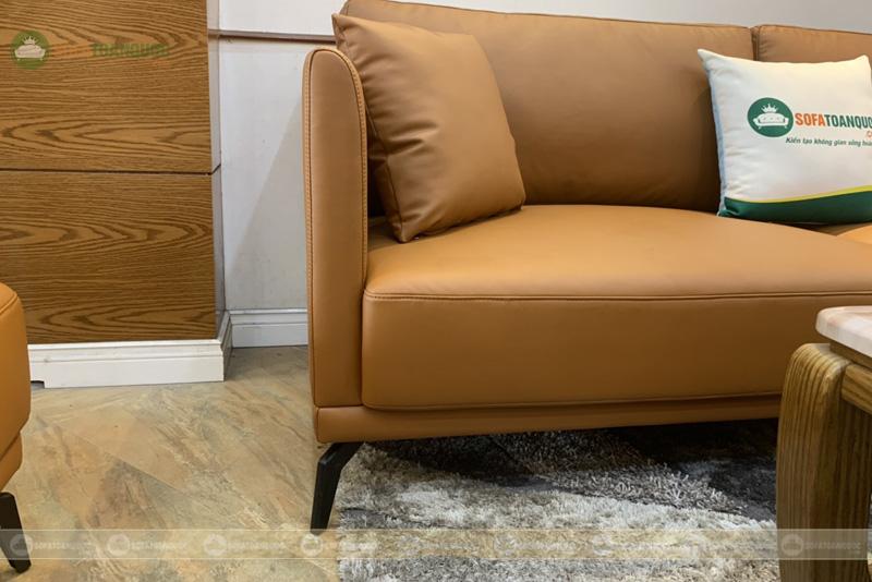 Bộ bàn ghế sofa da boss ý cao cấp màu da bò mã m06c-7
