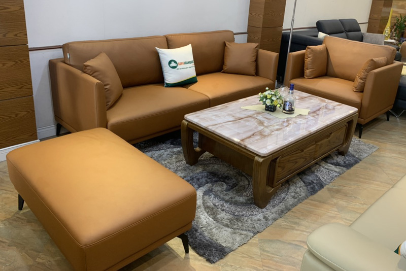 Bộ bàn ghế sofa da boss ý cao cấp màu da bò mã m06c