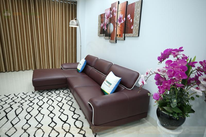 sofa da màu đỏ ánh tím viền da trắng