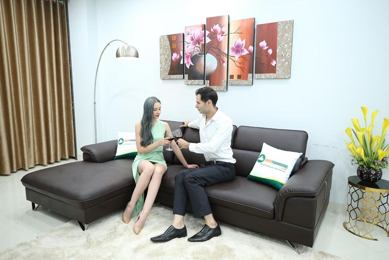 sofa da góc tiện lợi cho phòng khách