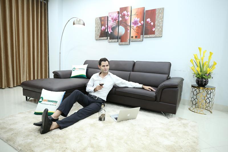 ghế sofa da góc màu nâu cafe