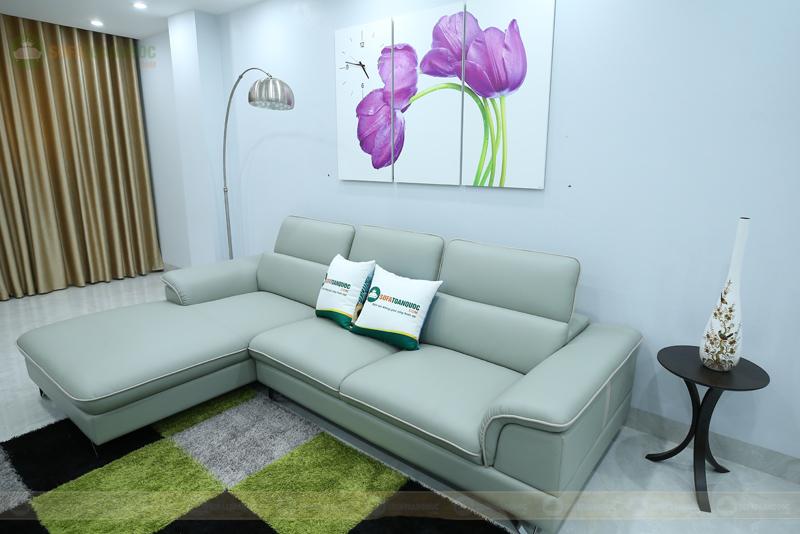 bộ ghế sofa da góc màu xanh