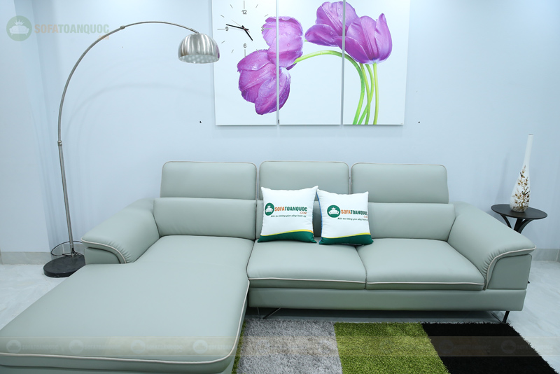 bộ ghế sofa da chân inox