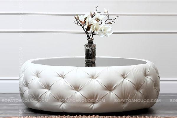 Mẫu bàn trà sofa bọc da rút quả trám mã 38