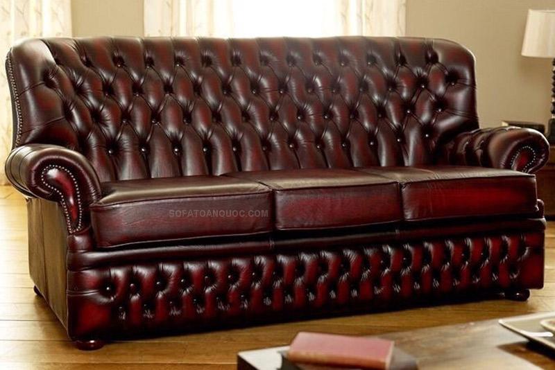 bộ ghế sofa tân cổ điển da thật đẹp