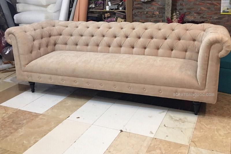 sofa văng dài kiểu cổ điển màu xám