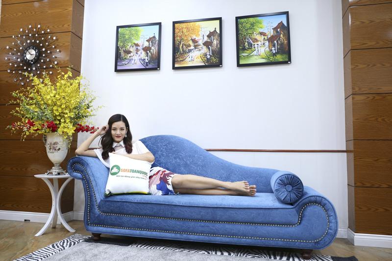 sofa cho phòng ngủ kiểu relax màu xanh nước biển