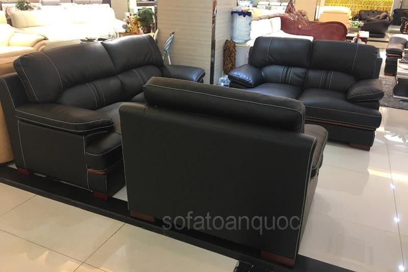 sofa da góc sử dụng da công nghiệp màu tối