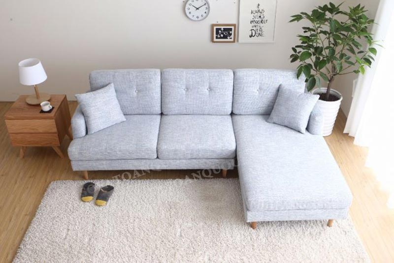 sofa góc nhỏ bọc vải 2 chỗ màu xám