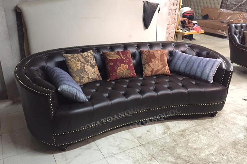 ghế sofa văng bọc da tân cổ điển