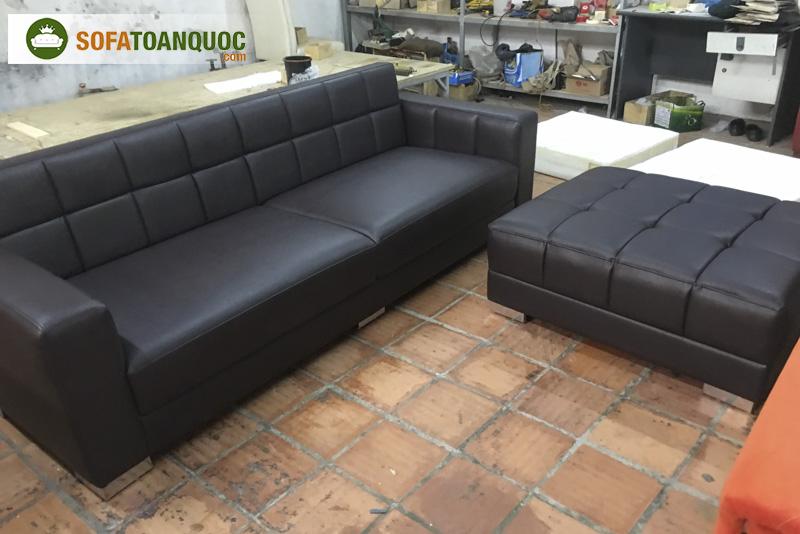 sofa văng kết hợp đôn sofa bọc da