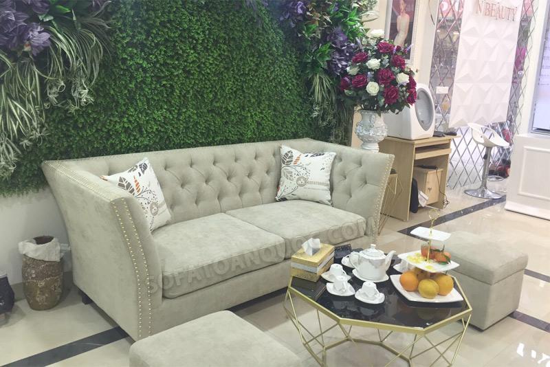 sofa văng bọc vải bố cho tiệm spa làm đẹp