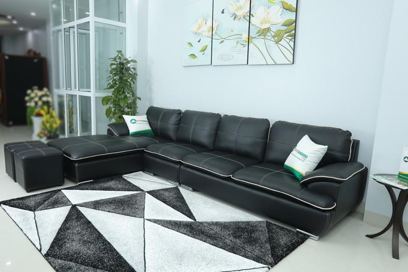ghế sofa 3 chỗ màu đen kiểu sofa góc trái viền trắng