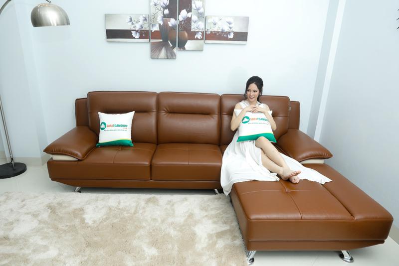 sofa văng góc phải 2 chỗ chân inox