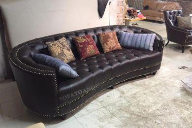 ghế sofa văng da bò đen