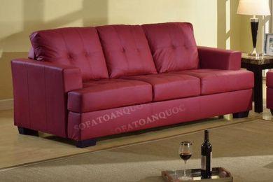 Ghế sofa văng bọc da màu đỏ mận sang trọng văng mã 61