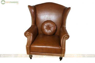 Ghế bành 1 chỗ bọc da màu nâu mã 60