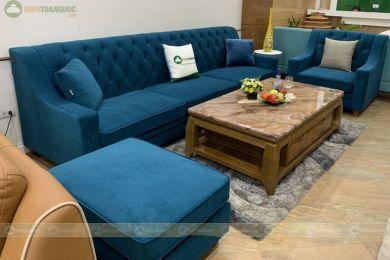 Bộ ghế sofa bọc vải cổ điển màu xanh dương dài 2800mm mã 101