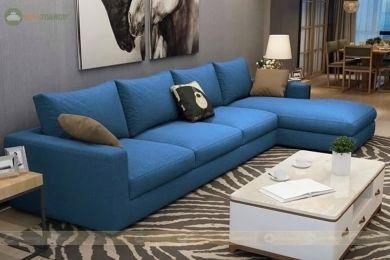 Mẫu sofa bọc vải nỉ màu xanh mã 96