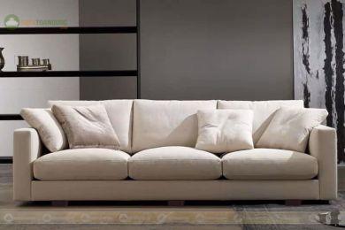 Sofa băng hiện đại bọc vải nỉ 2150mm màu trắng mã 183