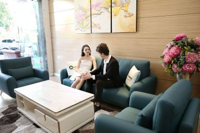Bộ bàn ghế phòng khách gồm 2 đơn và 1 ghế văng màu xanh cổ vịt M20