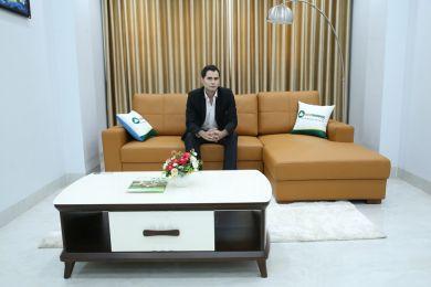 Mẫu sofa màu da bò bọc da Boss Ý mã M13