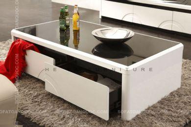 Mẫu bàn sofa đen trắng MDF hiện đại mặt kính mã 18