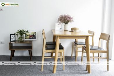 Bộ bàn ăn gỗ 4 gỗ tự nhiên mã 35