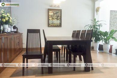 Bộ bàn ghế ăn gỗ óc chó tự nhiên mã 37