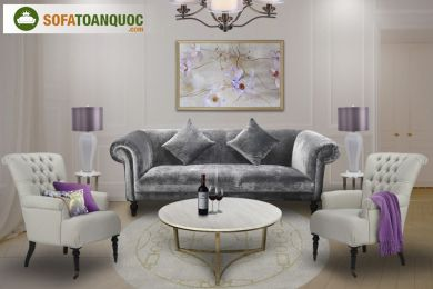 Mẫu Bộ Bàn Ghế Sofa Phòng Trà Bọc Vải Mã 70