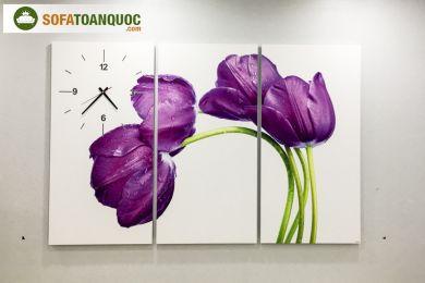 Tranh treo tường hoa kèm đồng hồ mã 05
