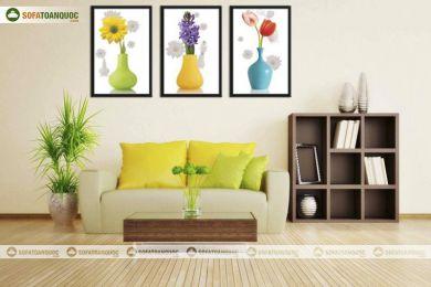 Tranh in cao cấp hình 3 bình hoa