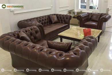 Bộ bàn ghế sofa da tân cổ điển đẹp mã 197