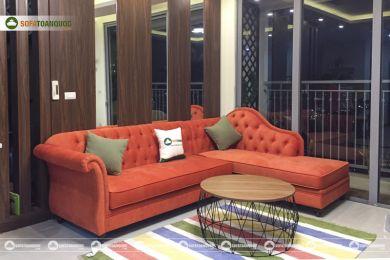 Mẫu bộ bàn ghế sofa vải kiểu tân cổ điển mã 77